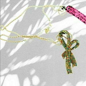 Betsey Johnson gold bow jeweled brooch necklace